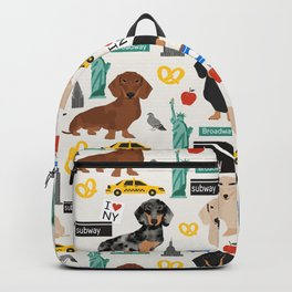 Dachshund dog breed NYC new york city pet pattern doxie coats dapple merle red black and tan Backpack
