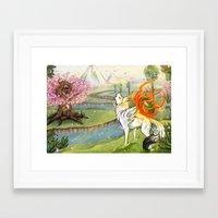 okami Framed Art Prints featuring Okami Amaterasu by Keshi