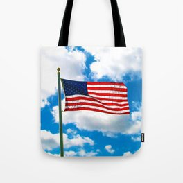 American Flag in Big Blue sky Tote Bag