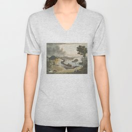 Vintage Pictorial Map of Richmond VA (1834) Unisex V-Neck