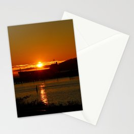Sunset Over Columbia River At Astoria Harbor Stationery Cards