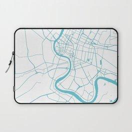 Bangkok Thailand Minimal Street Map - Turquoise and White II Laptop Sleeve