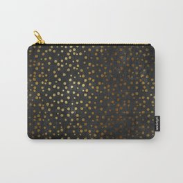Gold polkadots dots on black backround-Elegant and Luxury Design Carry-All Pouch