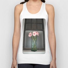 pink daisies ~ flowers on vintage sill Unisex Tank Top