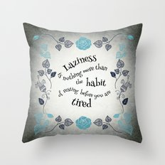 Lazy Floral Rest in Grey and Blue Throw Pillow