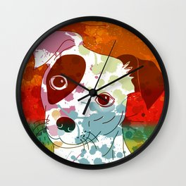 Abstract Colorful Jack Russel Terrier  Wall Clock
