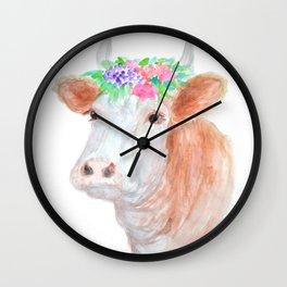 Flower Crown Cow Wall Clock