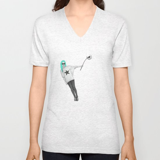 Girl with dandelion Unisex V-Neck