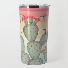 ruby throated hummingbirds & prickly pear cactus Travel Mug