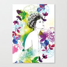 Bella fashion watercolor portrait Canvas Print