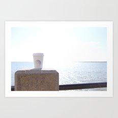 Seaside Coffee Therapy Art Print