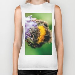 Happy Bumblebee, Bumble-Bee Flying, Gathering Flower Pollen, Bee, Insect Macro Photography Biker Tank