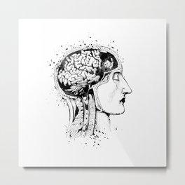 Human Head and Brain Anatomy Art Black and White Gift Anatomical Art Doctor Gift Medical Art Metal Print