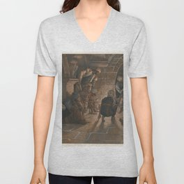 James Tissot - The Second Denial of Saint Peter Unisex V-Neck
