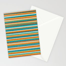 Textured Summer Stripes Pattern in Orange, Rust, Turquoise, Teal, and White Stationery Cards
