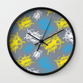 Beetles on Grey Background Pattern Wall Clock