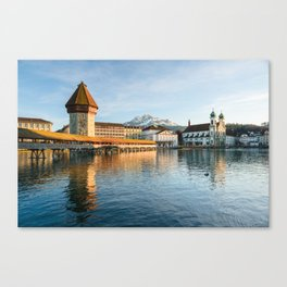 Chapel Bridge in Luzern with Pilatus in the Background, Switzerland Canvas Print