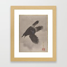Crow Flying in the Snow by Kawanabe Kyosai Framed Art Print