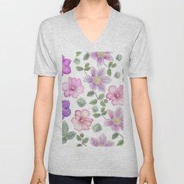 Seamless floral pattern on white background Unisex V-Neck