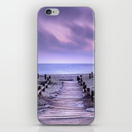 """To the beach...."" Purple sunset iPhone Skin"