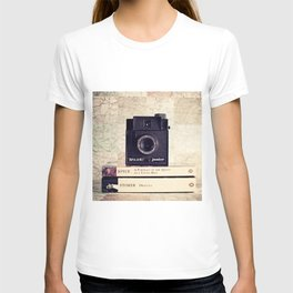 Vintage black camera and Joyce and Dracula books on Map pattern background  T-shirt