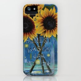 Lightning Bugs and Sunflowers iPhone Case
