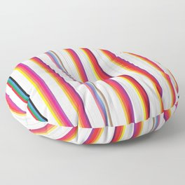 Colorful Stripes Barcode 80s Floor Pillow