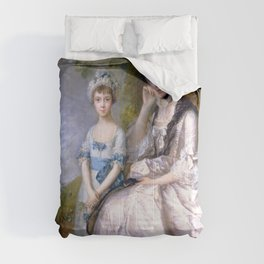"""Thomas Gainsborough """"Hester, Countess of Sussex, and Her Daughter, Lady Barbara Yelverton"""" Comforters"""