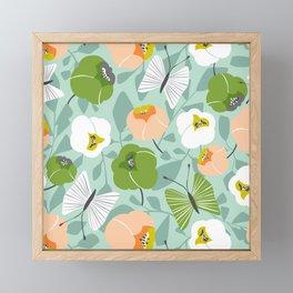 Butterfly Blossom Floral - Sage Green Framed Mini Art Print