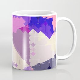 geometric square pixel and triangle pattern abstract in pink purple blue Coffee Mug