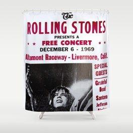 Vintage Rolling Stones free concert at Altamont Raceway, Livermore, California, December 6, 1969 Shower Curtain
