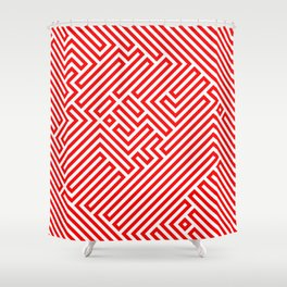 Optical Chaos 02 red Shower Curtain