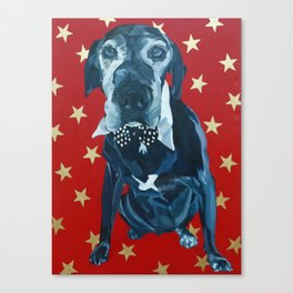 Starry Leonard the Black Lab Dog Portrait Canvas Print