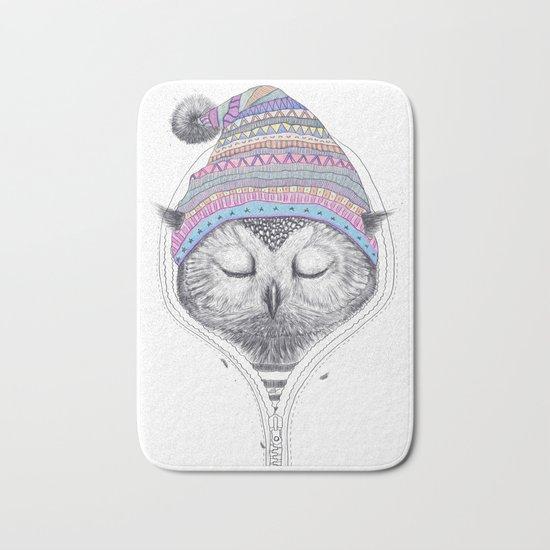 The Owl in a hood Bath Mat