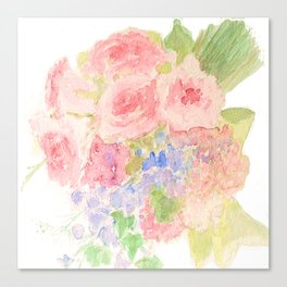Garden Bouquet Watercolor Wedding Pink Roses Canvas Print