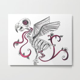 Dead Man Flying - Bird Skeleton Metal Print