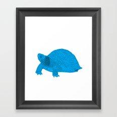 Turtle Illustration Blue Framed Art Print