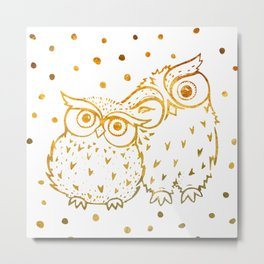 Gold Owls Metal Print