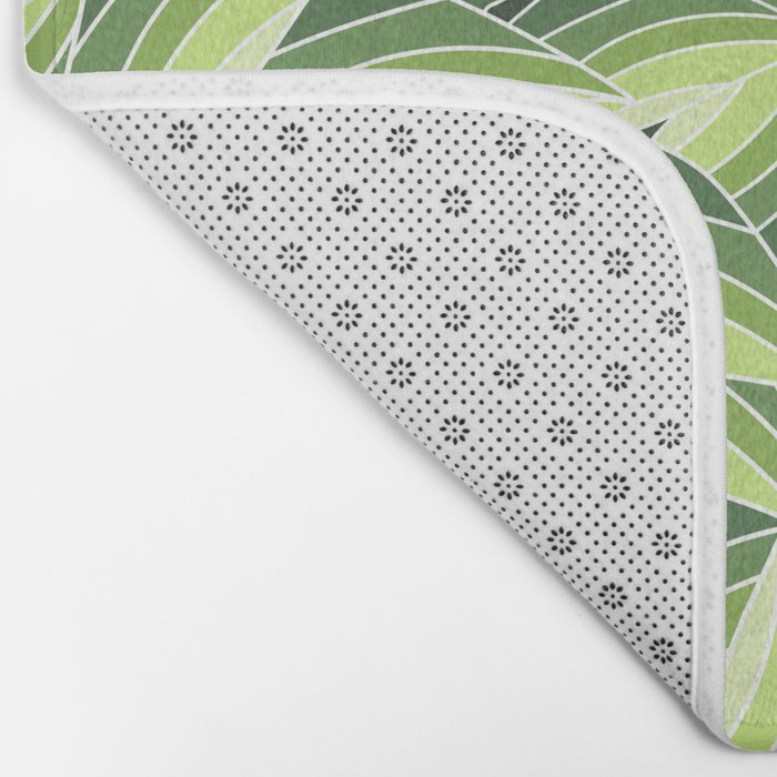 GREENERY LEAVES W  (abstract flowers nature) Bath Mat