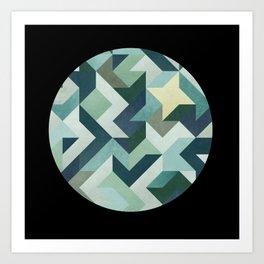 circle geometry (Black Background) Art Print
