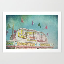 Elephant Ears Funnel Cakes Carnival Fair Whimsical Foodie Pastel Home Decor Art Art Print