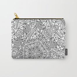 Detailed Mandala Frenzy Black and White Carry-All Pouch
