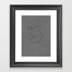 One Line Pitch Black Framed Art Print