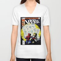verse V-neck T-shirts featuring Days of Spider Verse by Chance L