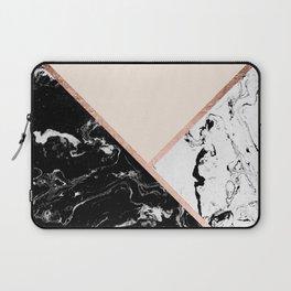 Modern black white marble rose gold color block stripes blush pink Laptop Sleeve