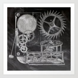 black and white vintage patent print chalkboard steampunk clock gear Art Print