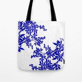 BLUE AND WHITE  TOILE LEAF Tote Bag