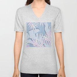 Elegant Tropical Blue Banana Leaves Design Unisex V-Neck