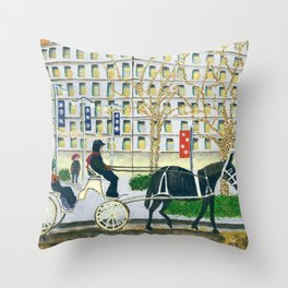 Carriage Ride on Woodward Avenue Throw Pillow