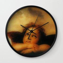"""Raffaello Sanzio da Urbino """"Sistine Madonna"""", 1513-1514 - angels (2) Wall Clock"""